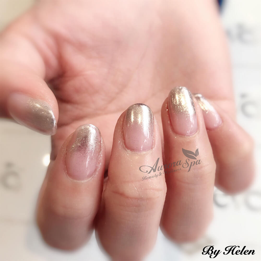 Natural Nail Overlay - Chrome Ombre