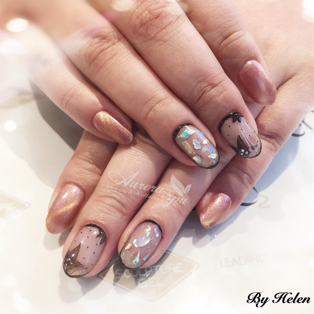 Natural Nail Overlay - Free Hand Paint Scattered Foil
